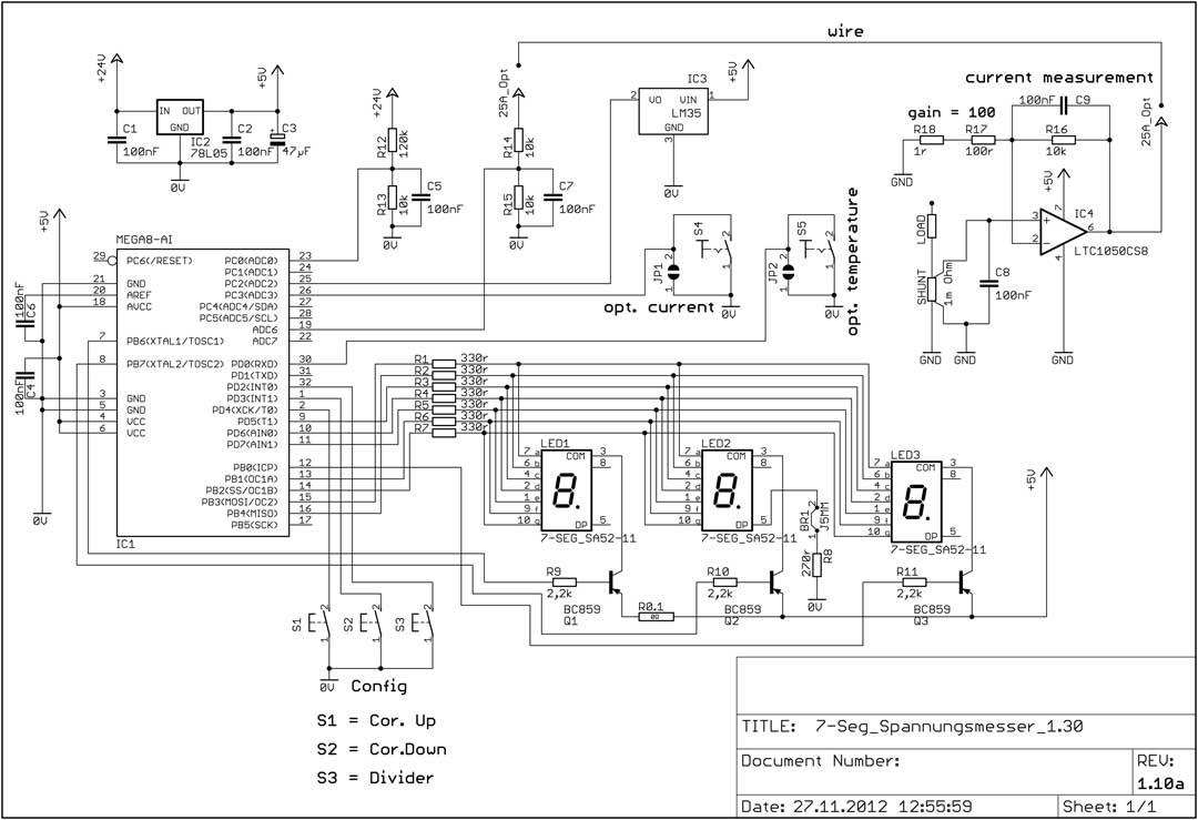 DG7XO ´s Homepage: Selbstbauprojekte: 7-Segment Spannungsmessmodul